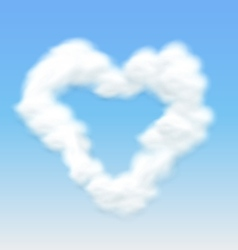 Clouds shaped heart border blue sky vector