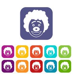 Clown head icons set vector