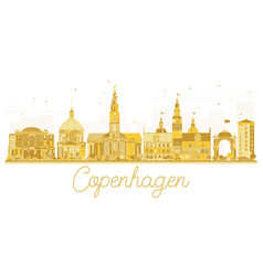 Copenhagen denmark city skyline golden silhouette vector