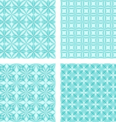 Cyan seamless pattern background set vector