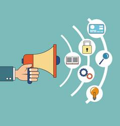 Digital marketing hand holding speaker development vector