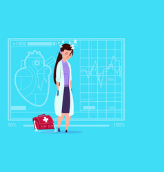 Female doctor tired napping medical clinics worker vector