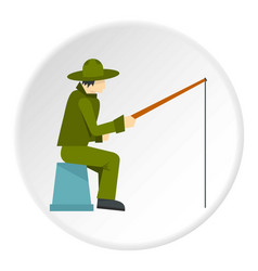 Fisherman sitting with fishing rod icon circle vector