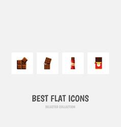 flat icon bitter set of sweet chocolate bar vector image