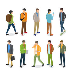 group of teenage guys dressed in different clothes vector image vector image