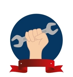 Hand human with wrench labor day vector