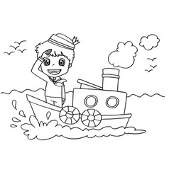 Little boy with a boat coloring page vector