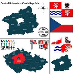 map of central bohemian czech republic vector image vector image