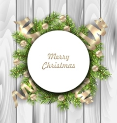 Merry christmas card with fir twigs balls and vector