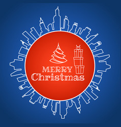 merry christmas design with gift box in circle vector image vector image