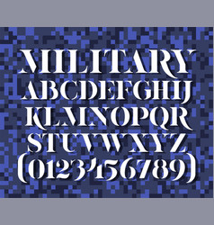 Military stencil typeface vector