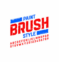Paint brush style modern font alphabet and numbers vector