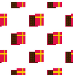 Pink box with chocolate pattern seamless vector