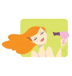 Redhead woman drying her hair vector image