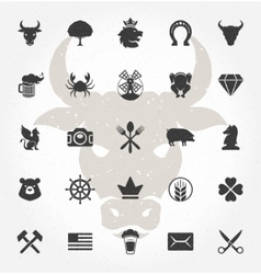 Retro Hand Drawn Objects and Icons Design vector image vector image