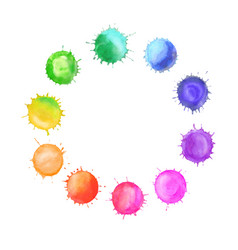 round frame made of watercolor rainbow vector image