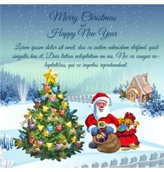 Santa claus with gifts in his residence vector