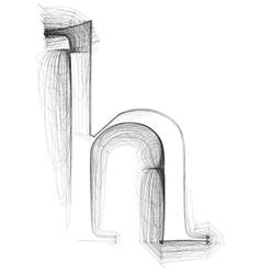 Sketch font letter h vector