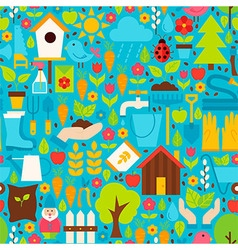 Spring Garden Flat Design Blue Seamless Pattern vector image vector image