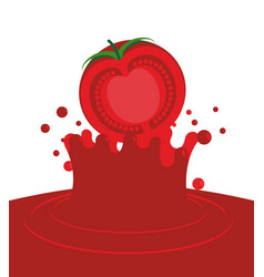 Tomato falling in juice isolated red splash on vector