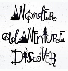 wonder adventure discover lettering set vector image vector image