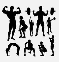 Body builder male and female sport silhouette vector