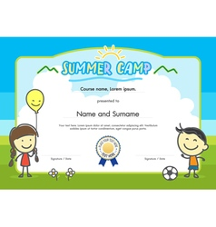 Kids summer camp certificate document template vector