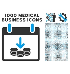 Coins income calendar day icon with 1000 medical vector