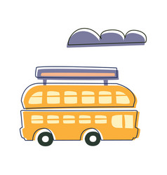 Double decked public transport yellow bus cute vector