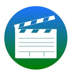 Film clap board cinema sign white icon in vector
