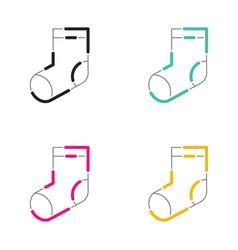 christmas socks icon neon light style vector image