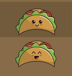 Kawaii set tacos icon with beautiful expressions vector