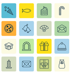 Set of 16 celebration icons includes present vector