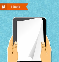 Hands holds an electronic book vector