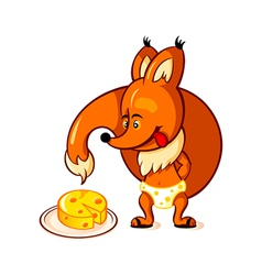 Little fox and big cheese vector