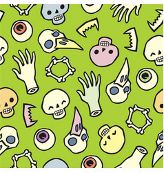 Seamless infinite background with bones and eyes vector