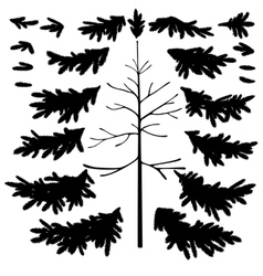 Christmas tree trunk and branches silhouettes vector