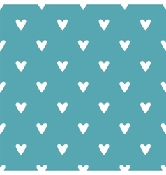 Tile pattern white hearts on mint green background vector