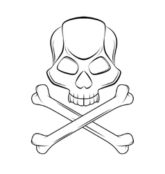 Skull and crossbones isolated outline vector