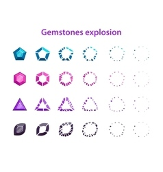 Cartoon colorful gemstones explosion frames vector