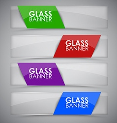 Glass banner with ribbon vector