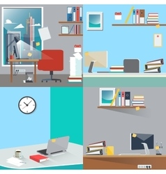 Business interior set office work place vector