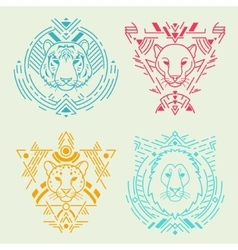 Animal heads in frames vector image vector image