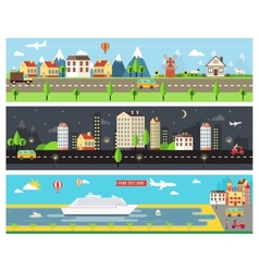Beautiful city landscape banners vector