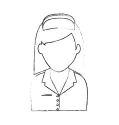 Blurred silhouette faceless female nurse half body vector