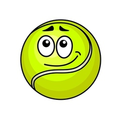 Cartoon tennis ball with a wry smile vector image vector image