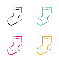 Christmas socks icon neon light style vector