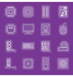 Computer performance and equipment icons vector image vector image