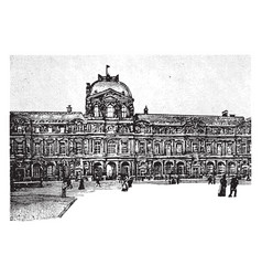 Courtyard of the louvre vintage vector