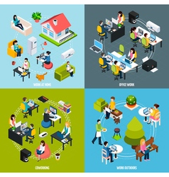 Coworking Concept Icons Set vector image